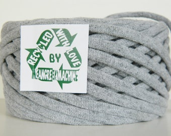 Recycled T Shirt Yarn, Gray 36 Yrds, T- Shirt Yarn, Tarn