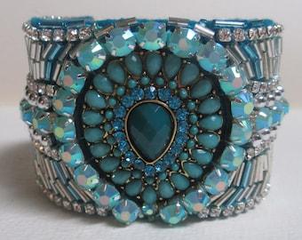 Cuff Bracelet Beaded Blue Aqua Turquoise Fabric Fabulous