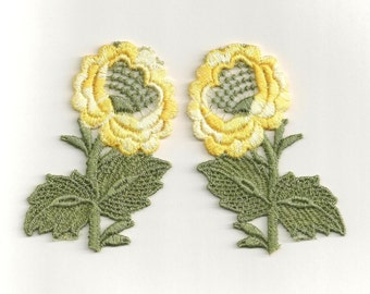 Yellow Flowers: Mirror-Image Sew-On Appliques - A Pair of Large Vintage New Old Stock Appliques