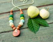 Button Nursing Necklace / Babywearing Necklace - all shades of green - apple wood