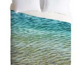"Ocean Wave Bedding. Duvet Cover. Blue Bedroom Decor. Ocean home decor. ""Ombre Sea"" Water photography. Beach decor. turquoise teal blue green"