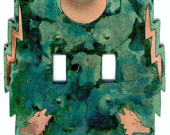 """CopperCutts Wolf with Moon 6"""" x 6"""" Double Standard Switch Plate"""
