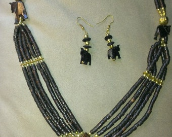 camel bone necklace with earrings set