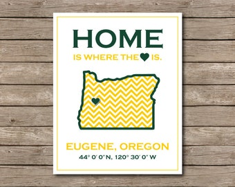 University of Oregon Printable, Eugene, Oregon Ducks Art Print Go Ducks
