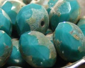TROPICAL WATERFALL -  czech glass picasso bead . 12 ea. turquoise . (bk0310)