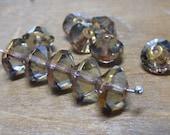 CLEAR DAY . Czech Saucer Beads . 6mm x 9mm . transparent grey bronze . 6each . (bk0327)