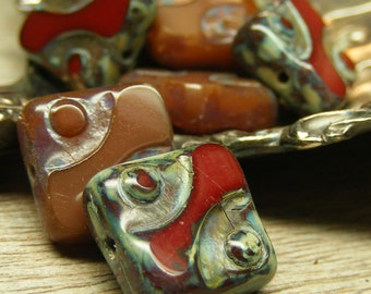 RUSTED REDWOOD, 10 Czech Glass Carved Bead, 10mm picasso bead, garnet brown, (bk0413)