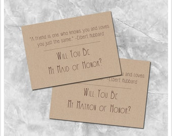 Brown Kraft Paper Will You Be My Maid/Matron of Honor - Printable