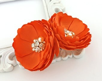 Orange Crush Fabric Flowers - Hair, Shoe Clip For a Bride, Bridesmaids, Special Event, Photo Prop, Teacher's Gift - Many Colors - Kia