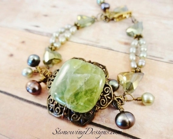 Green Garnet, Pearls and Crystal Bracelet & Earrings Set, Antique Brass, stone and pearl bracelet and earrings