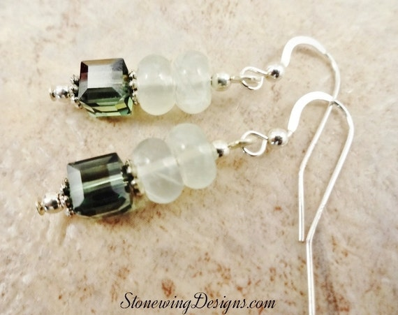 Prehnite Rondelle and Swarovski Crystal Cube Earrings