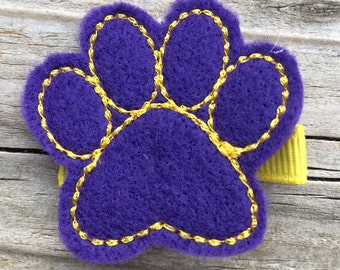 Purple and Yellow Paw Felt Hair Clip Babies, Toddlers, Girls