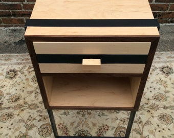Custom Night Stands, Made to Order, Walnut and Maple with steel straps