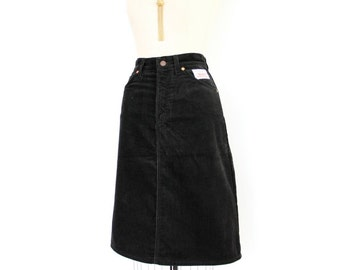 70s Levis Skirt, High Waist Black Corduroy A-Line Jean Style Skirt, PReppy Minimalist Hipster Office Skirt, Campus Casual Fine Wale Cord