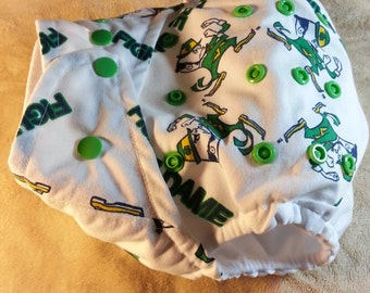 SassyCloth one size pocket diaper with Notre Dame Fighting Irish cotton print. Made to order.