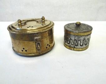 Jewelry Box Trinket Brass Tin Set Of Two