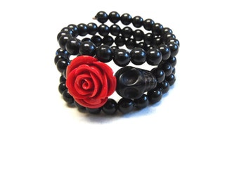 Day of The Dead Bracelet Sugar Skull Red Rose Black Jewelry