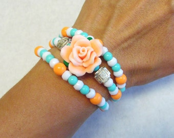 Western Wrap Bracelet Turquoise Blue White Coral RoseSilver Cuff Cowgirl Bling
