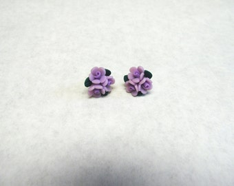 Lilac Light Purple Cluster Rose Flower Earrings Post