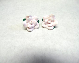 Pink White Flower Earrings Post