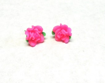 Pink Flower Earrings Post
