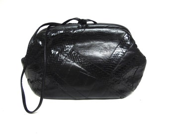 Vintage Black Leather And Snakeskin Handbag Purse Clutch
