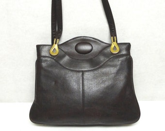 Vintage Ann Taylor Brown Leather Handbag Purse With Mirror