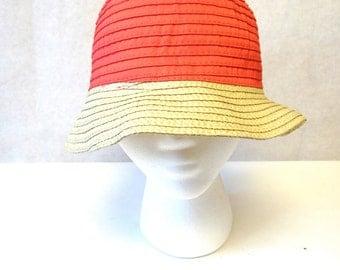 Coral Orange Cloche Hat Millinery Sun Bucket Cap
