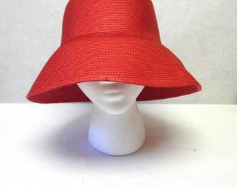 Red Wide Brimmed Cloche Hat Ladies Millinery Sun Bucket Cap Betmar
