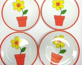 Fitz and Floyd Fine China Flower Pot Dinner Plates Set of 7