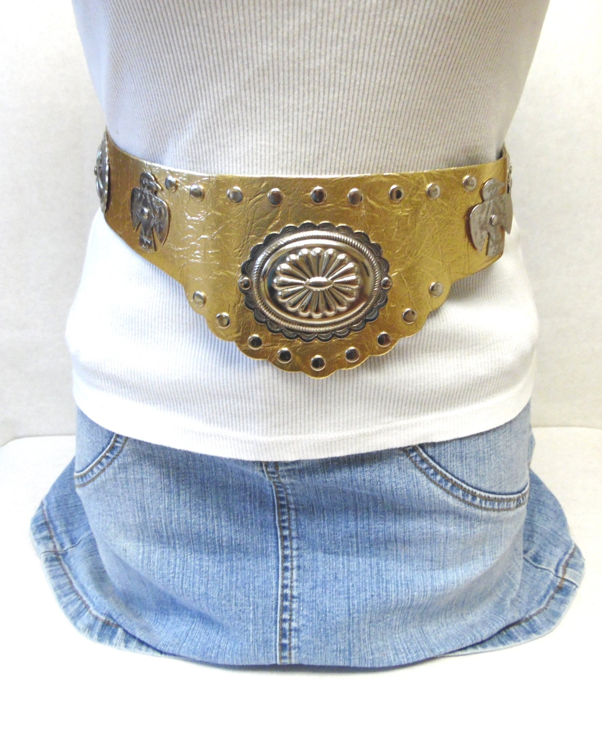 wide gold belt corset concho warrior