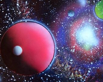 "Spray Paint Art Original Space Galaxy Universe Poster Painting  22"" x 14"""