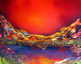 "Spray Paint Art Original Sunset Mountain Landscape Poster Painting 14"" x 11"""