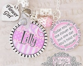 FLOWER GIRL GIFT - Pink Flower Girl - Bridal Party Gifts - Gift for Flower Girl - Wedding- Little Girl - Gift From Bride - Flower Girl Charm