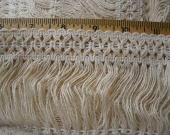 "Ecru 3.5"" wide Natural color Cotton Fringe trim retro choose yards yardage sewing crafts costume home decor boho hippie"