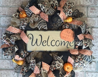 Fall Deco Mesh Wreath, Pumpkin Welcome Wreath, Fall Glitzy Wreath, Animal Print Wreath, Deco Mesh Wreath