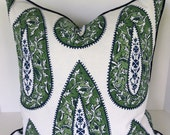 Decorative Pillow Covers  in Lacefield Bindi Kelly Paisley with Piping/Valance/Euro