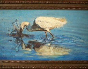 Moment of Impact-Snowy Egret (original oil painting)