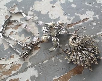 Rhinestone Brooch Assemblage Necklace Art Deco Jewelry Vintage