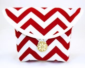 Bicycle Handlebar Bag in a Red and White Chevron