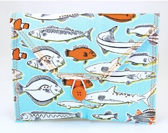 Bicycle Handlebar Bag with Fish in Blue and Orange