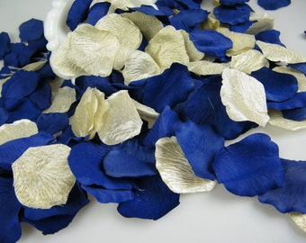 500 Gold & Royal Blue Cobalt Rose Petals | Little Prince Party Decorations | Artificial | Table Centerpiece Scatter  | Flower Girl Petals
