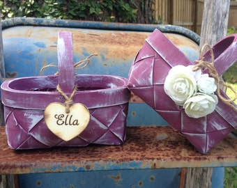 Set Of Two Custom Rustic Flower Girl Basket  PICK YOUR COLORS Country Chic Woodland Farm Wedding