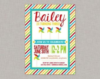 Pinwheel Birthday Invitation, Pinwheel Birthday Party, Pinwheel Party