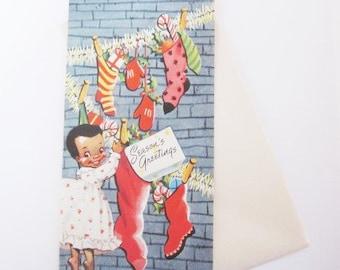 Vintage Christmas Card - Christmas Greetings - African American Young Girl - One Card original Envelope - Black Americana - Ebony