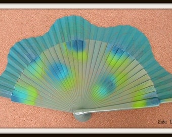 Abstract Peacock Folding Handheld Hand Fan Wooden Flamenco Spanish from Spain Hand Painted by Kate Dengra