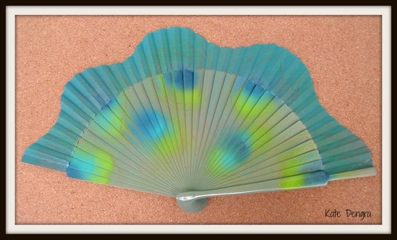 Abstract Peacock Hand Fan
