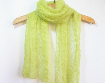 Hand knit green mohair scarf. Accessory. Lace knitting. Lime green. Shawl wrap. Feather and fan