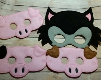 Big Bad Wolf and 3 Little Pigs masks pretend play party favor dress up
