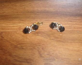 vintage clip on earrings black silver beads
